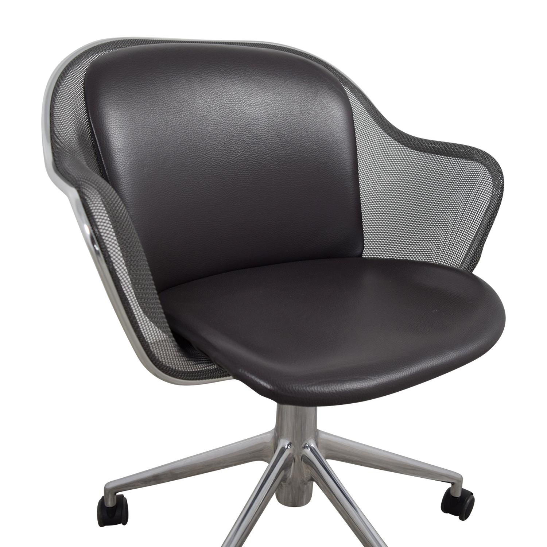 90 OFF  B  B Italia B  B Italia Grey Leather Desk Chair  Chairs
