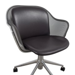 Grey Leather Desk Chair Bucket 90 Off B And Italia