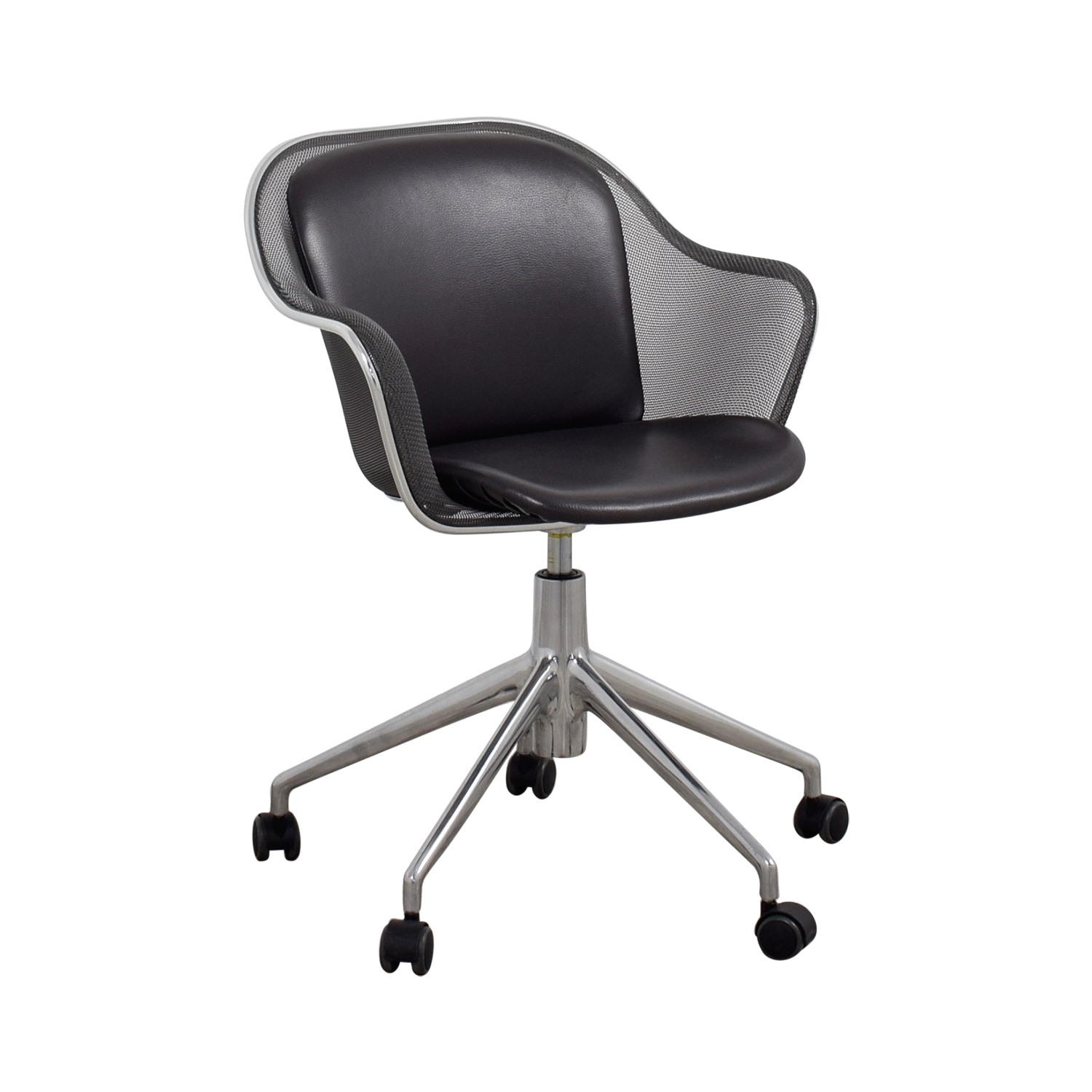 grey leather desk chair cute office mat 90 off b and italia