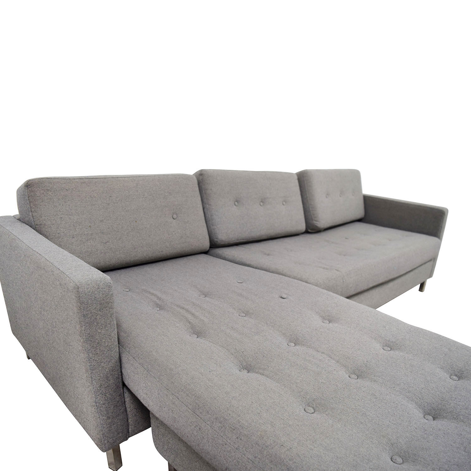 84 OFF  CB2 CB2 Grey Tufted Chaise Sectional  Sofas