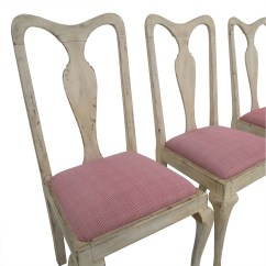 White Distressed Dining Chairs Chair Light Stand 90% Off - Antique With Red Plaid Upholstered /