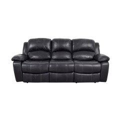 Recliner Sofa Leather Black Metal Wall Art Above Reclining Second Hand