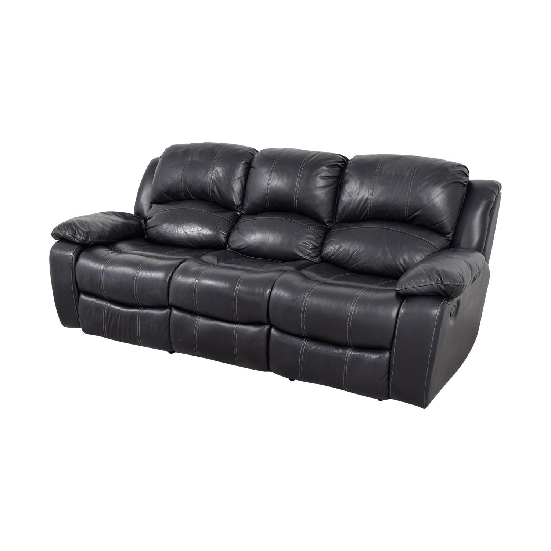 recliner sofa leather black thomasville benjamin motion 3 seat 70 off reclining sofas