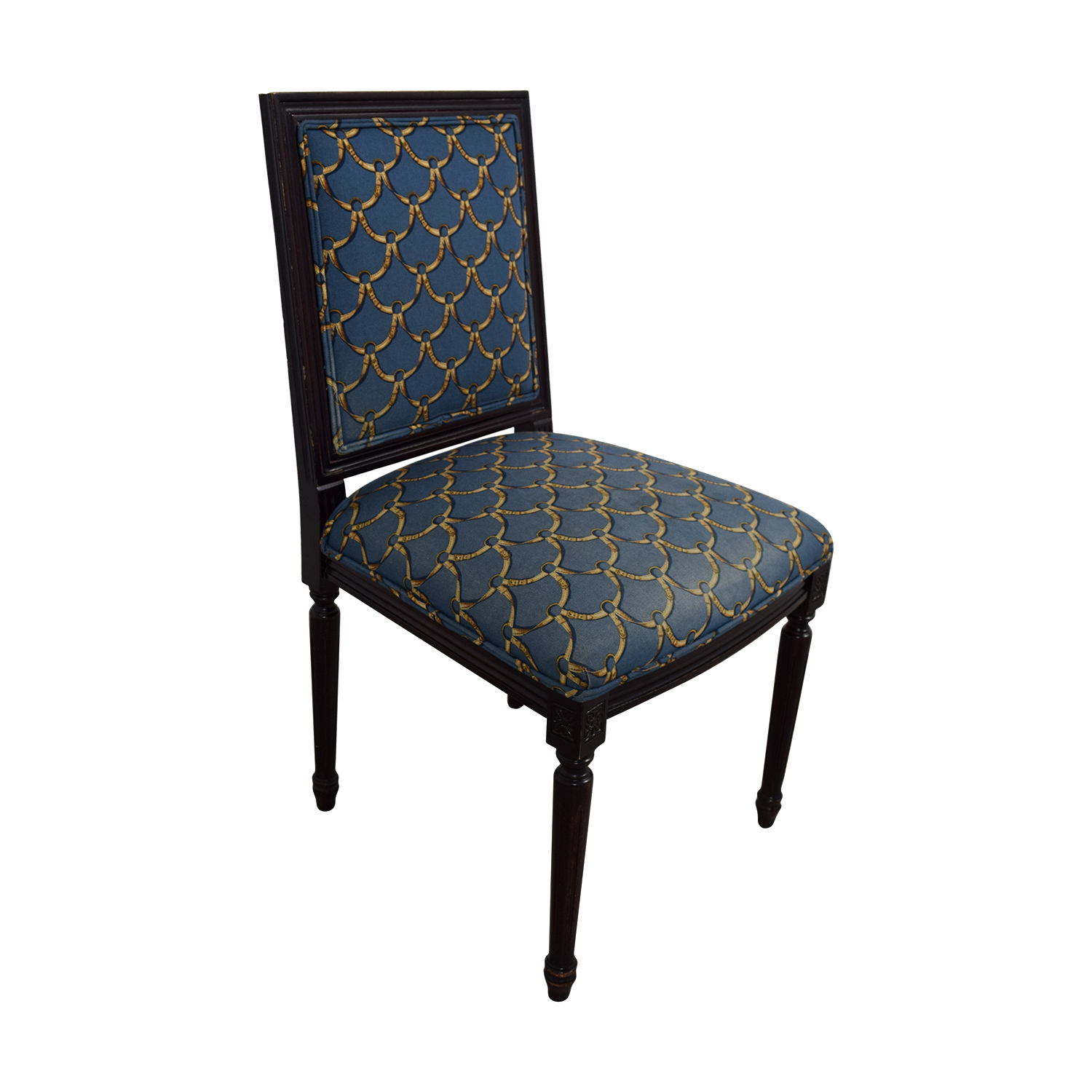 ballard designs upholstered dining chairs brooklyn bonded leather lounger chair and ottoman 88 off blue gold