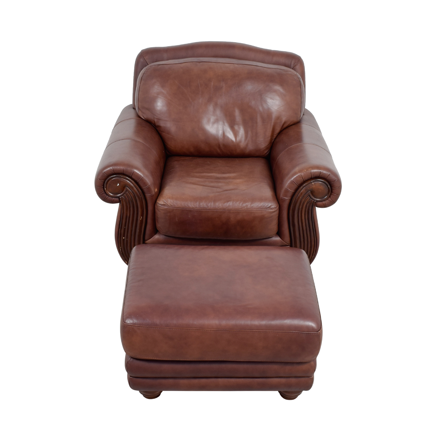 Leather Chair And Ottoman Rooms To Go Brown Leather Chair And Ottoman