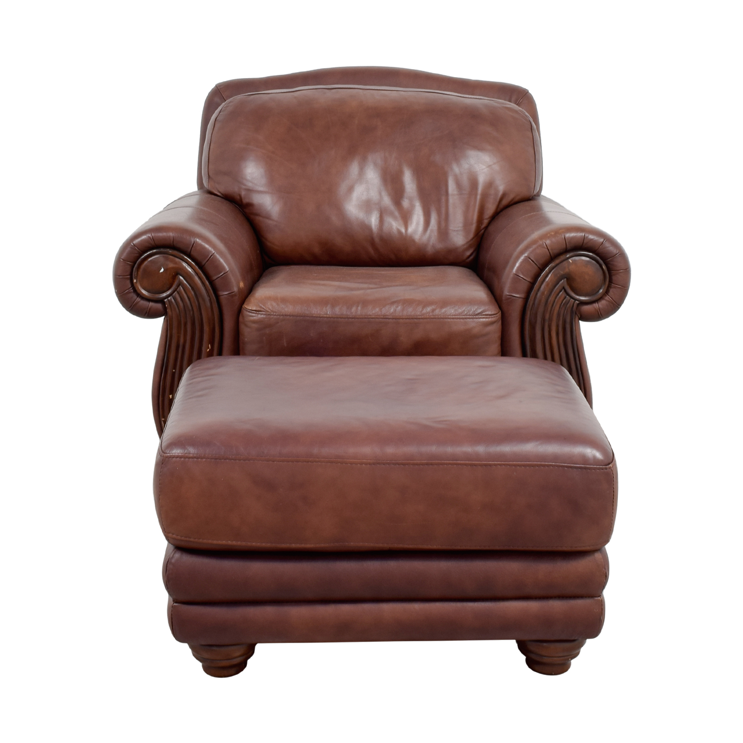 Go Chair Brown Leather Chair With Ottoman Tyres2c