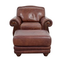 Brown Leather Chair With Ottoman