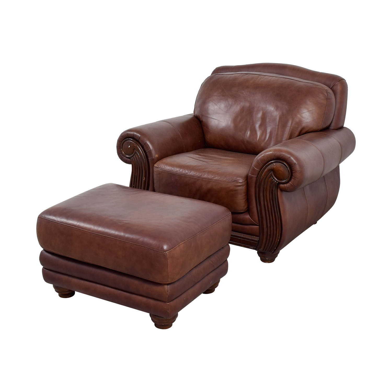 Go Chair 54 Off Rooms To Go Rooms To Go Brown Leather Chair And