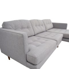 72 Inch Sofa With Chaise Gray Throw Cover Off West Elm Grey Tufted Sectional