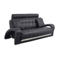 52% OFF - Black Leather Sofa with Pillows / Sofas