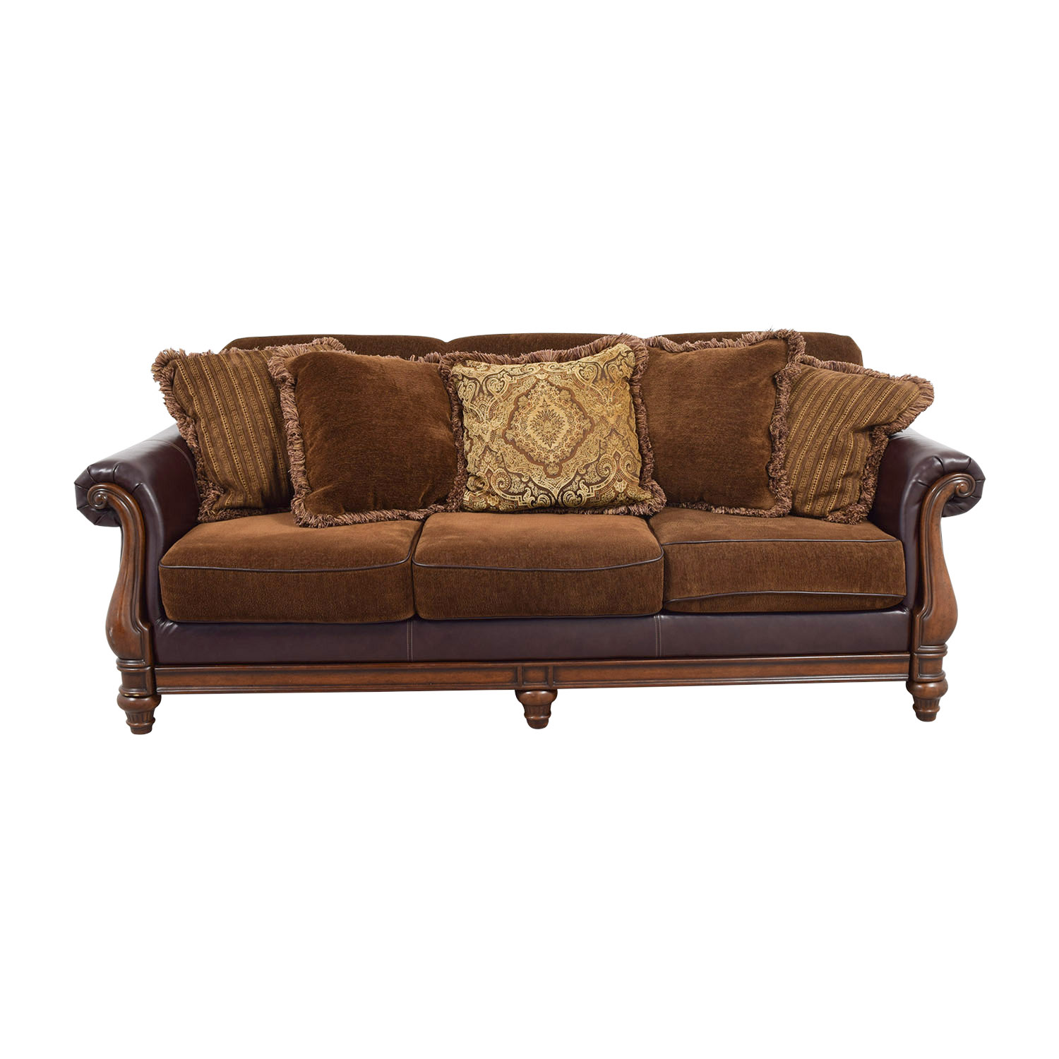 mixing leather sofa fabric chairs lexington 81 off roche bobois burnt orange