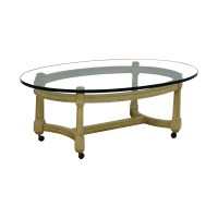 90% OFF - Off White and Glass Oval Coffee Table on Castors ...