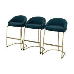 Stool Chair Second Hand Go Anywhere Harness 57 Off Vintage Teal Upholstered Bar Stools Chairs