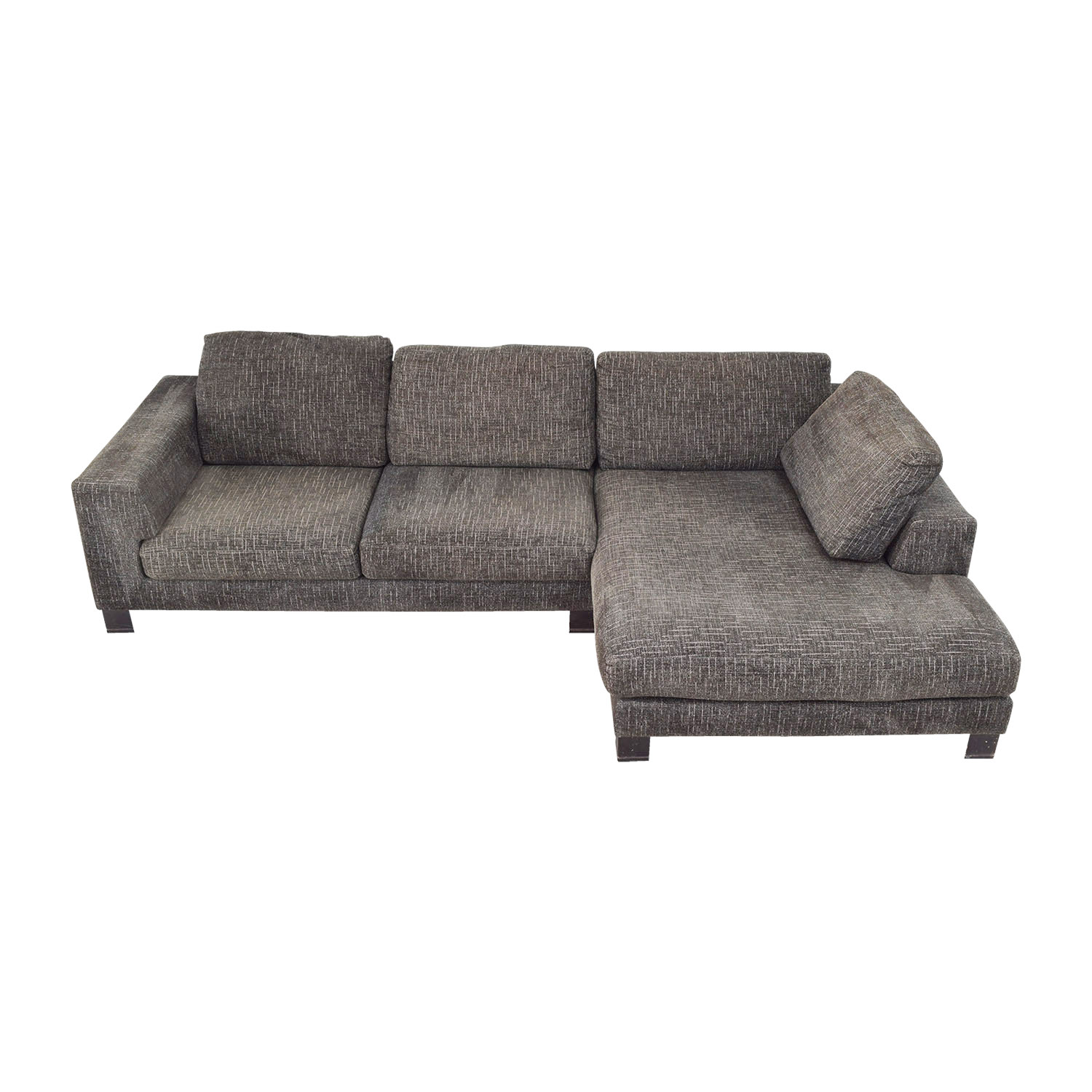 grey tweed sectional sofa recliner couch chair gray review home co