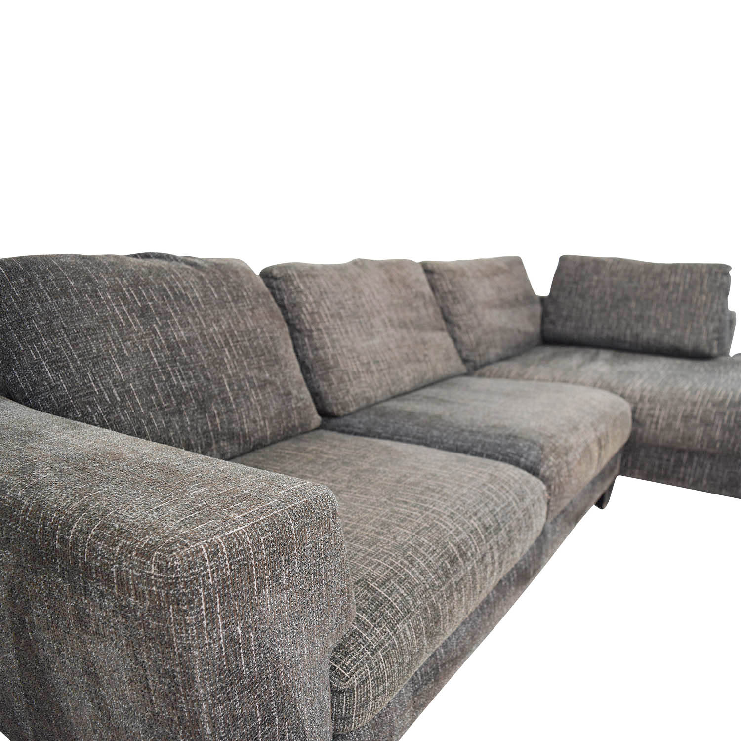 grey tweed sectional sofa modern pillows 74 off right arm chaise sofas