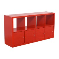 78% OFF - IKEA IKEA Red Shelving with Storage Cabinets ...
