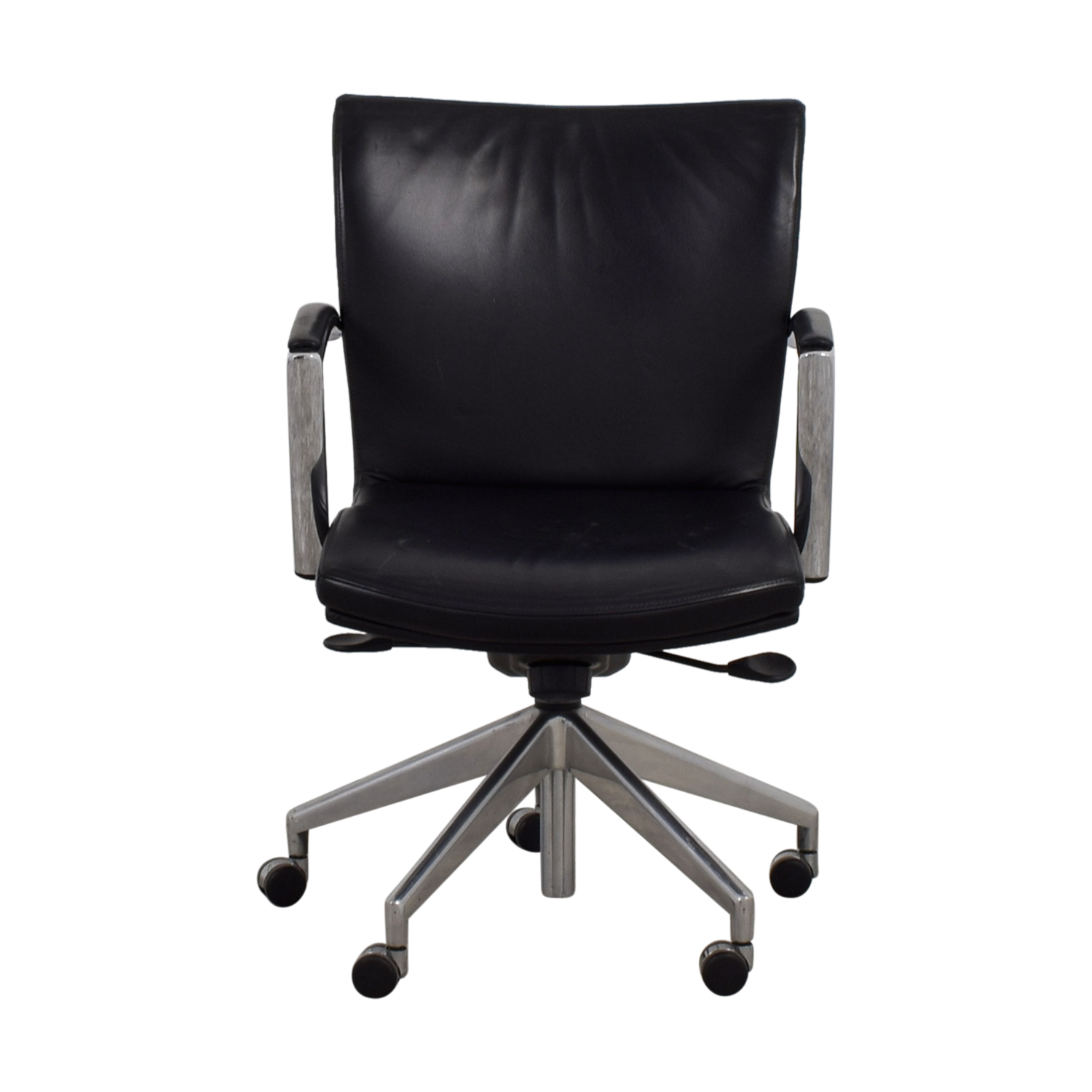 61% Off  Black Leather Desk Chair  Chairs