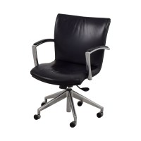 61% OFF - Black Leather Desk Chair / Chairs