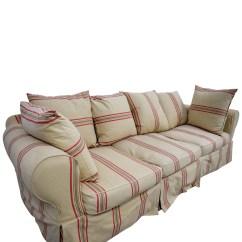 3 Cushion Sofa Slipcover Modern Walnut Table 90 Off Beige With Red Stripe Three