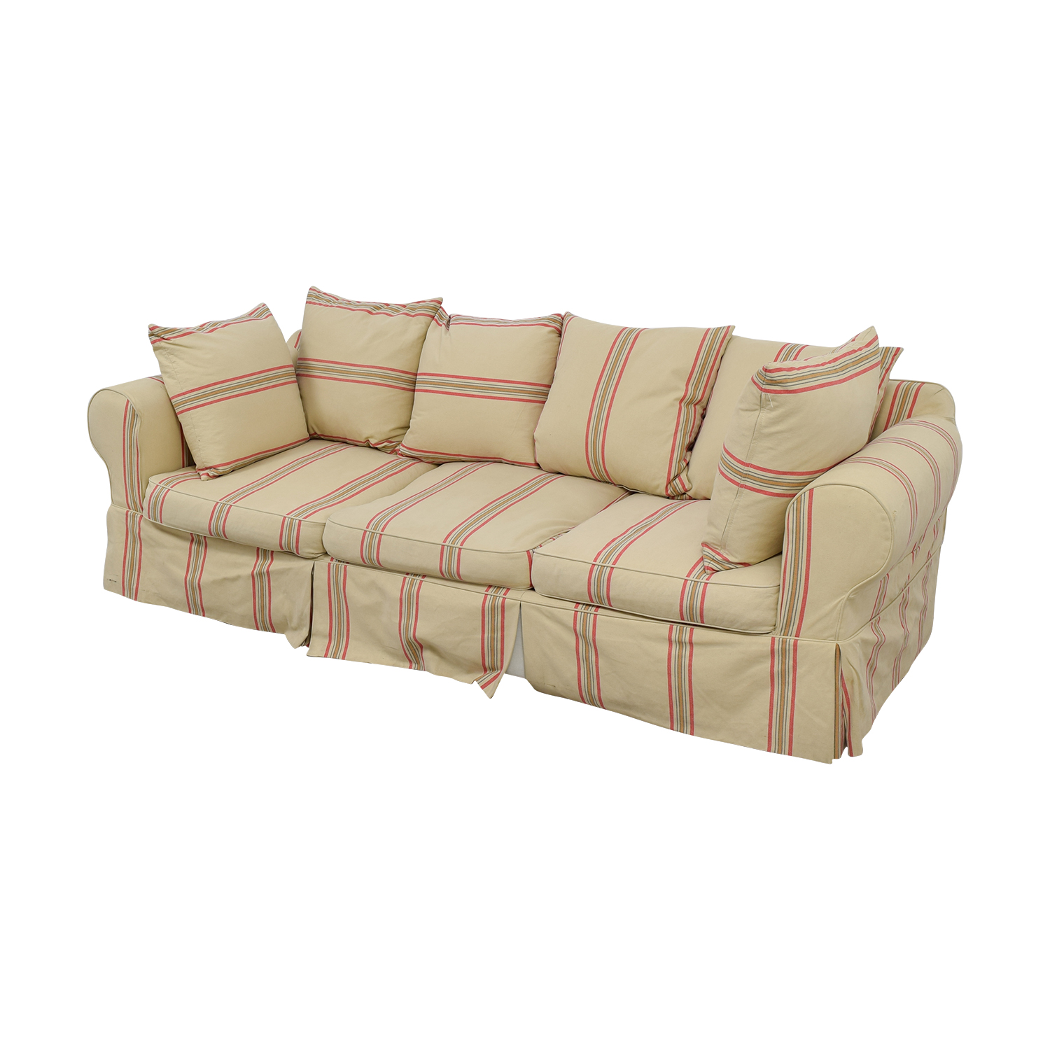 second hand chair covers for sale motorized recliner 90 off beige with red stripe three cushion slipcover