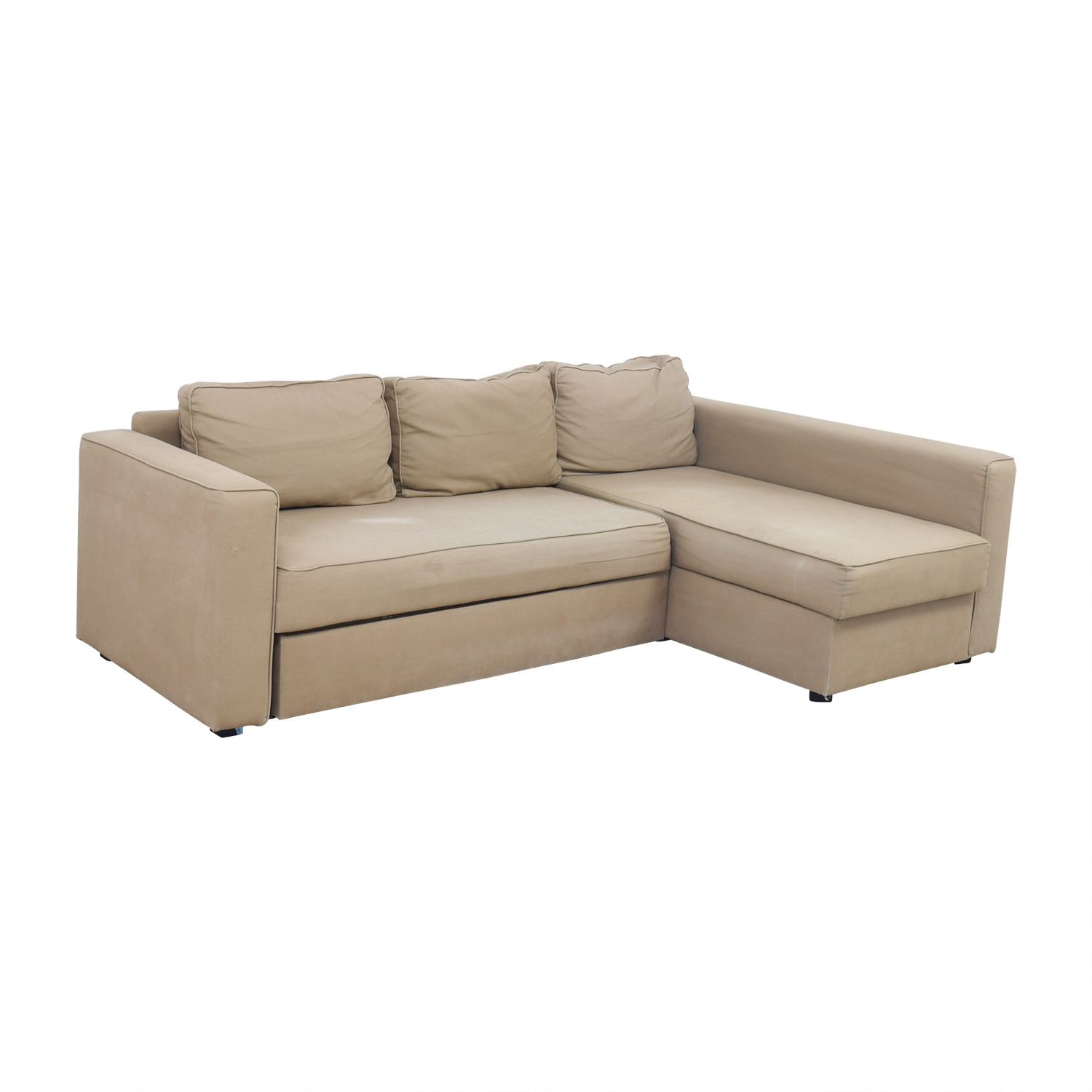 manstad sofa bed small beds for rooms ikea sleeper with chaise and storage