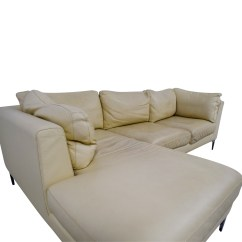 Cream Full Leather Chaise Sectional Sofa Neutral Decor 79 Off Design Within Reach