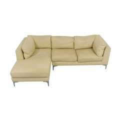 Cream Full Leather Chaise Sectional Sofa Steam Cleaner Uk 79 Off Design Within Reach