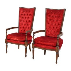 Red Tufted Dining Chair Rocker Outdoor Chairs 79 Off Vintage High Back Accent