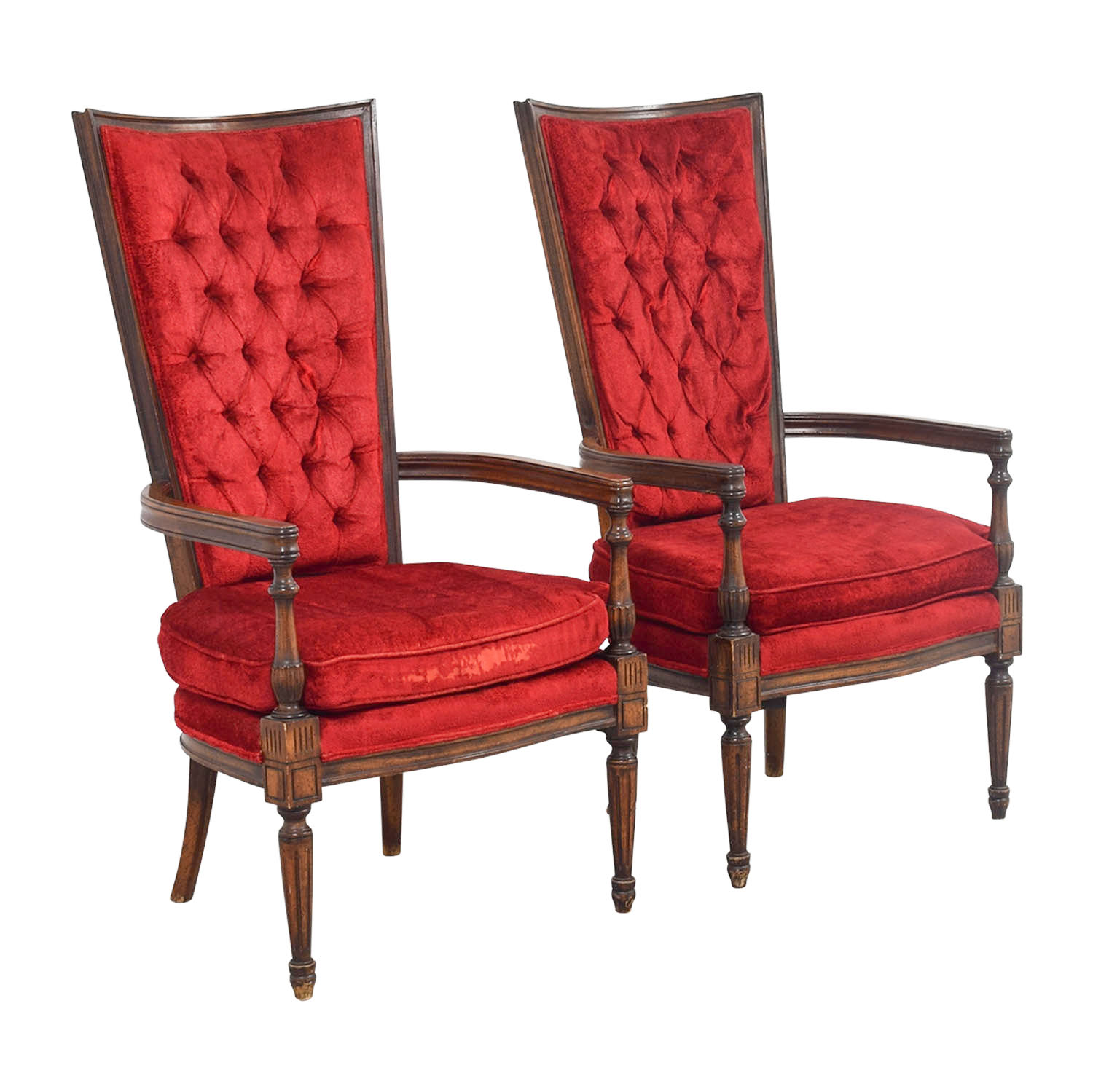 red tufted dining chair folding tent 79 off vintage high back accent chairs