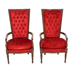 Red Tufted Dining Chair Tuscan Chairs 79 Off Vintage High Back Accent