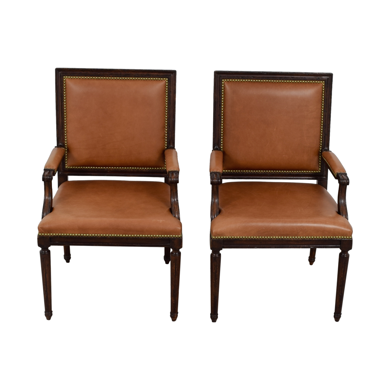 Leather Dining Chairs With Nailheads 64 Off Henredon Henredon Brown Leather Nailhead Accent