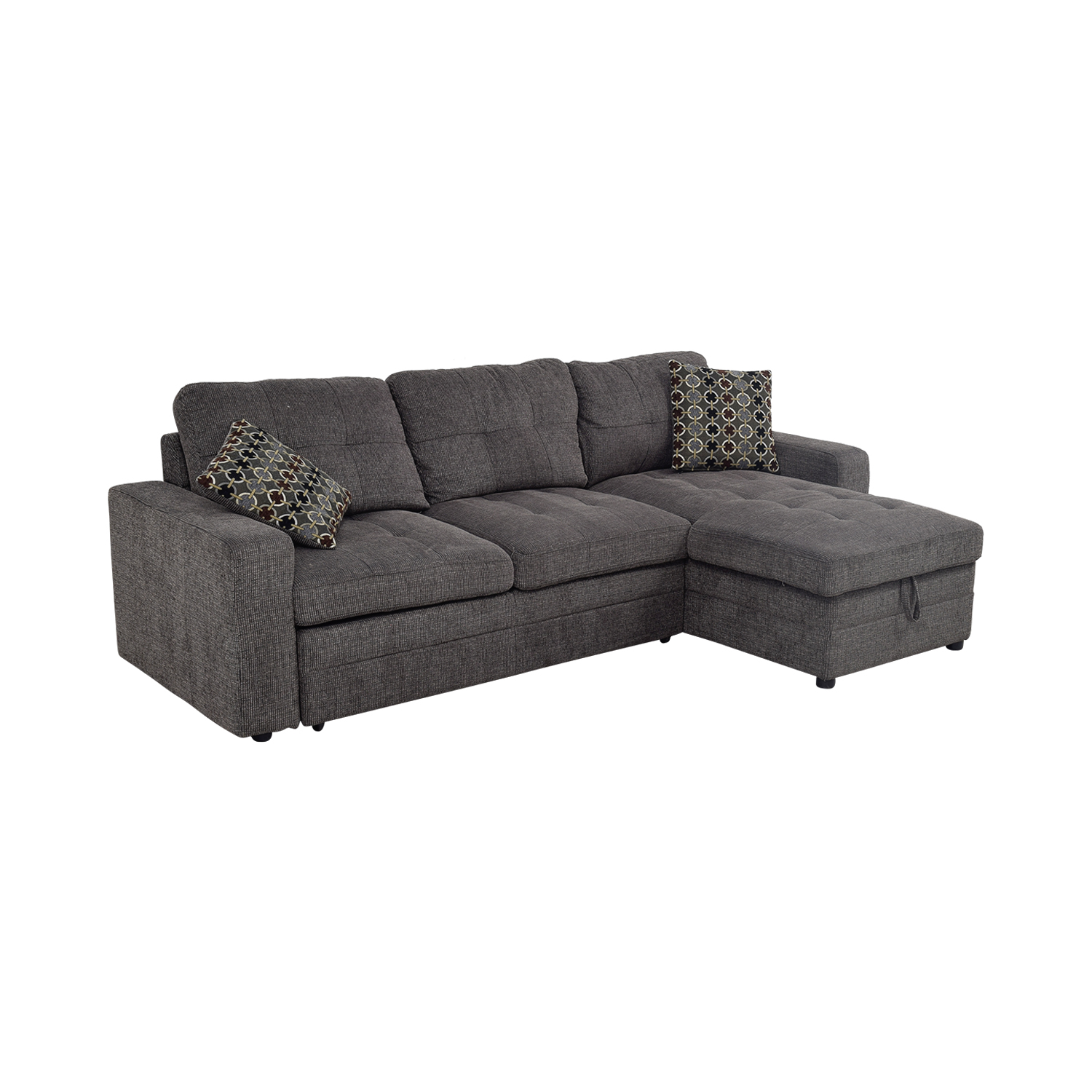 grey tweed sectional sofa 2 piece reclining set 45 off twin to full sofabed with
