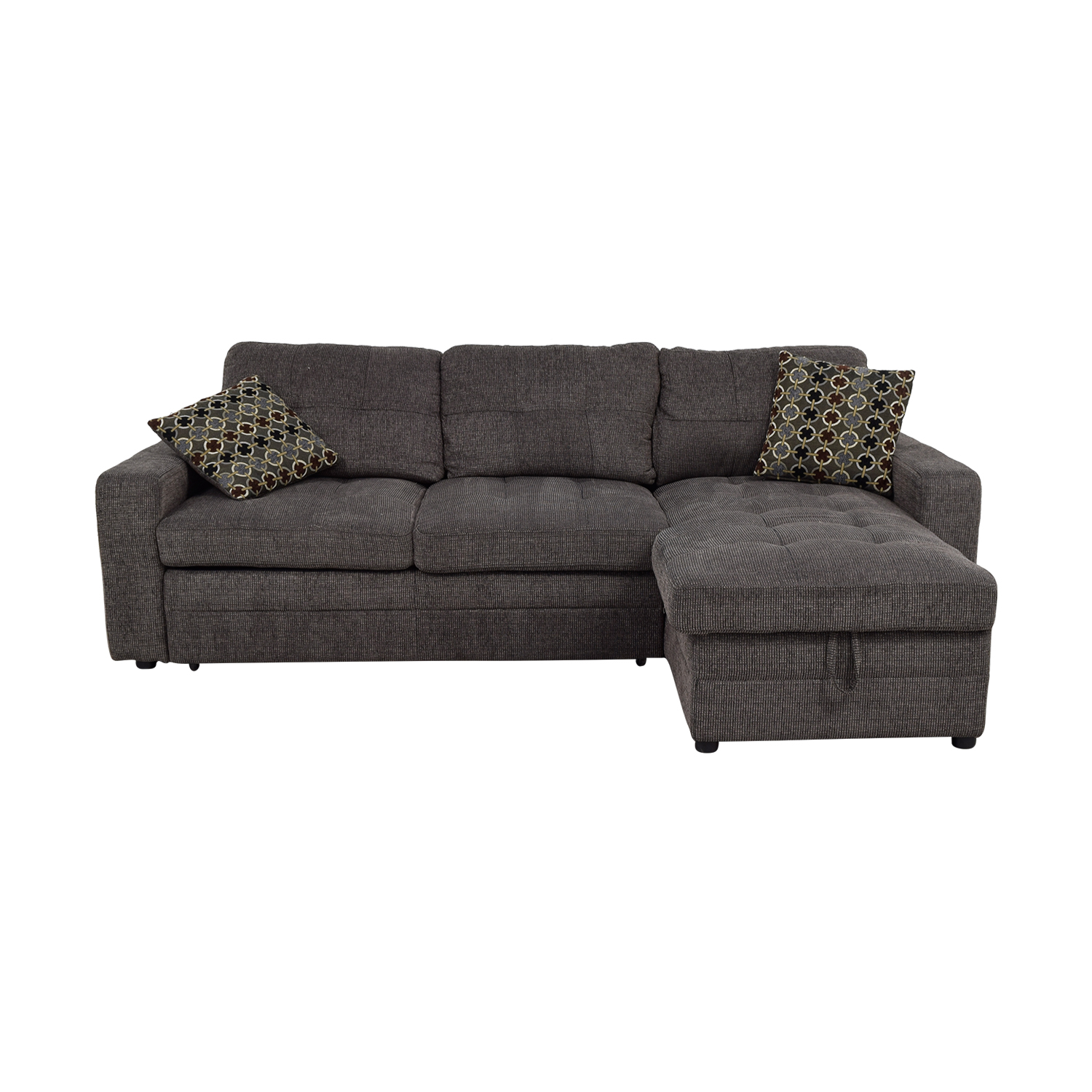 grey tweed sectional sofa restoration hardware sleeper sofas comfortable 45 off twin to full sofabed with