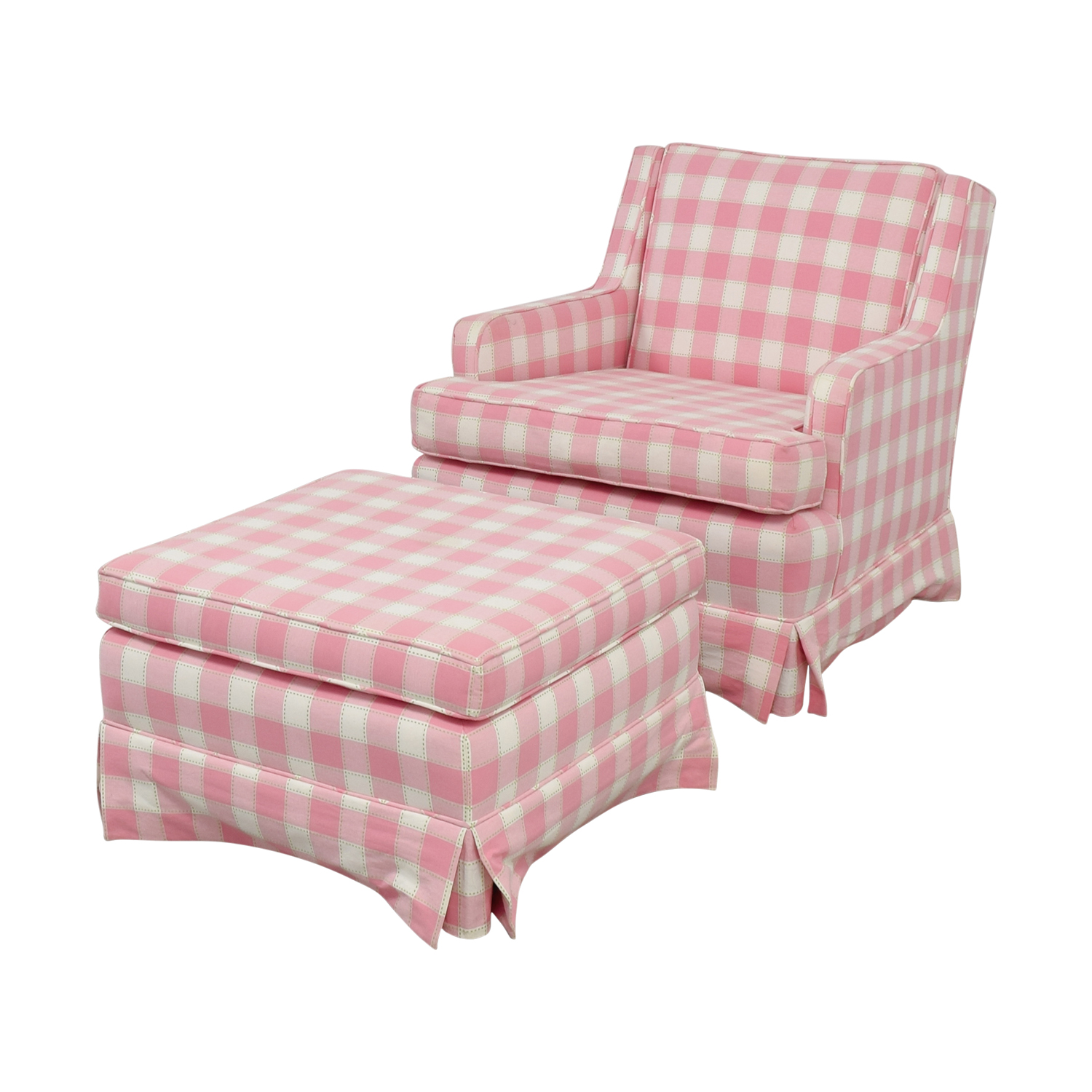 82 OFF  Pink and White Plaid Chair and Ottoman  Chairs