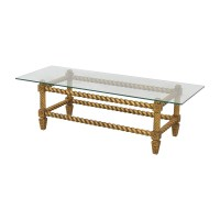 90% OFF - Antique Glass and Gold Framed Coffee Table / Tables