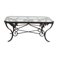 90% OFF - Glass and Metal Leaf Scroll Coffee Table / Tables