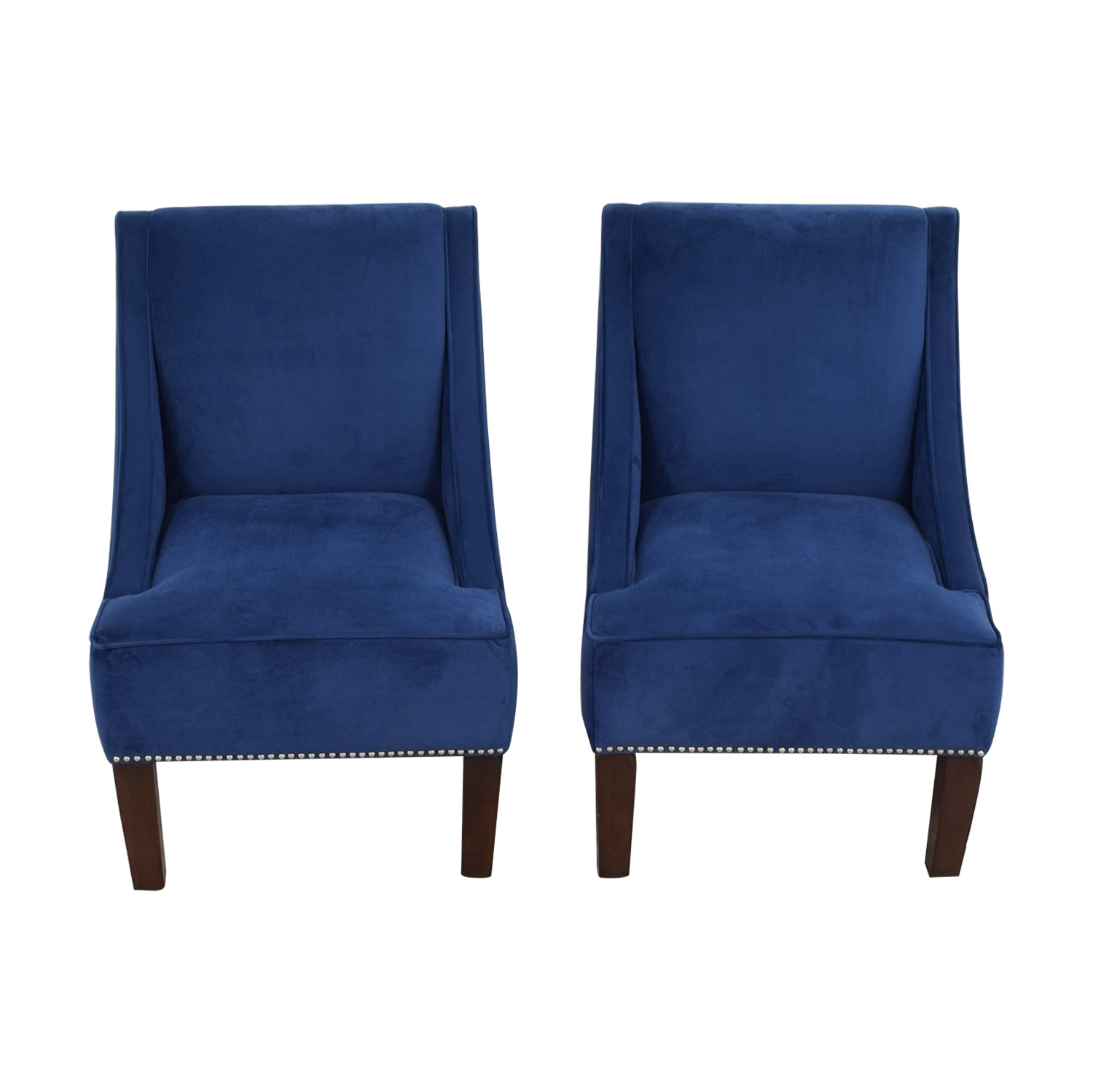 Navy Accent Chair 67 Off Liza Liza Navy Velvet Nailhead Winged Accent