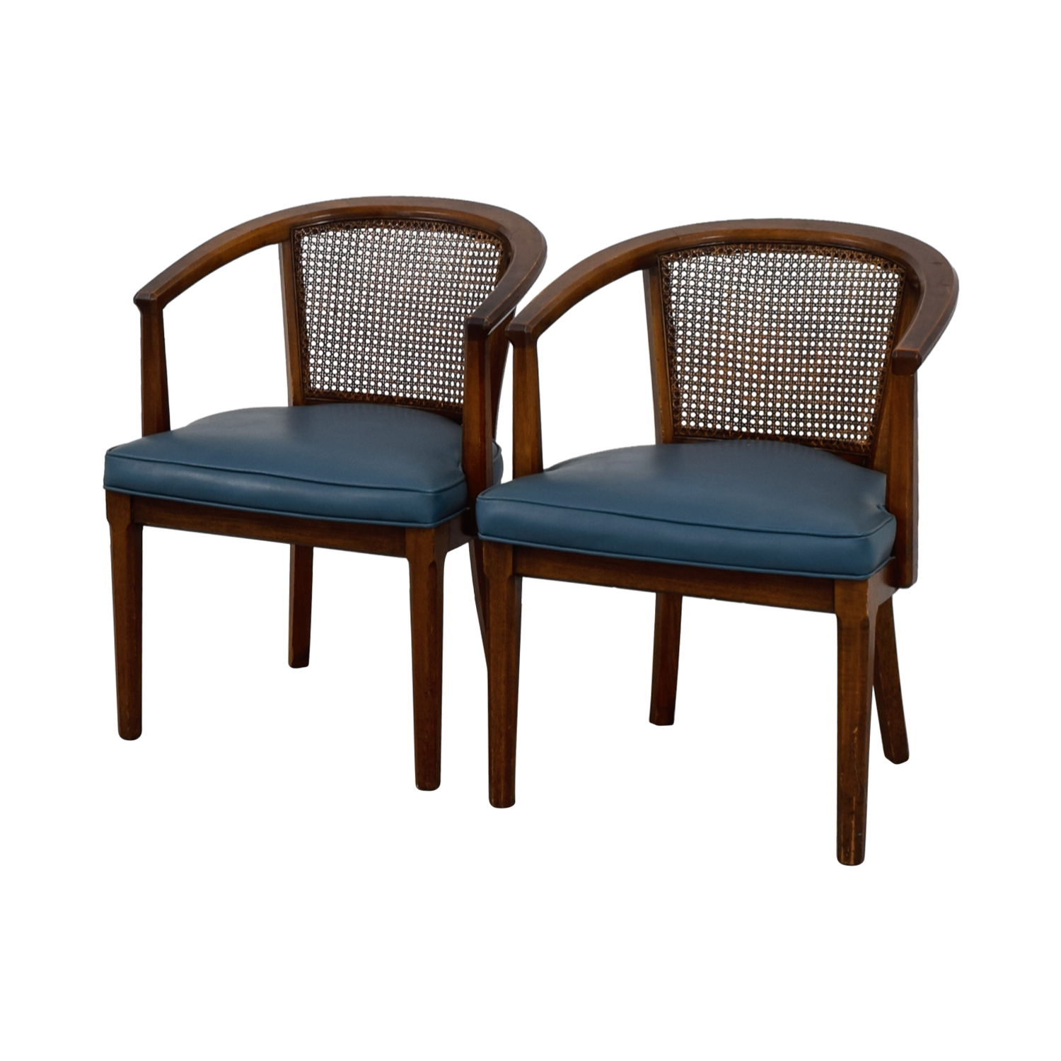 cane barrel chair wood side chairs 76 off vintage mid century navy