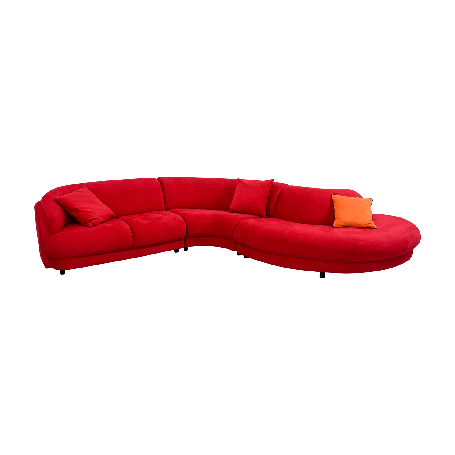 2nd hand sectional sofa connector hardware 66 off bright red curved with pillows sofas