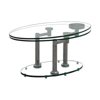 Glass And Metal Coffee Table Oval