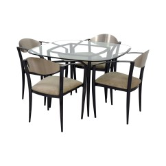 Dining Table With Metal Chairs Fishing Chair Tcg 77 Off Glass And Beige