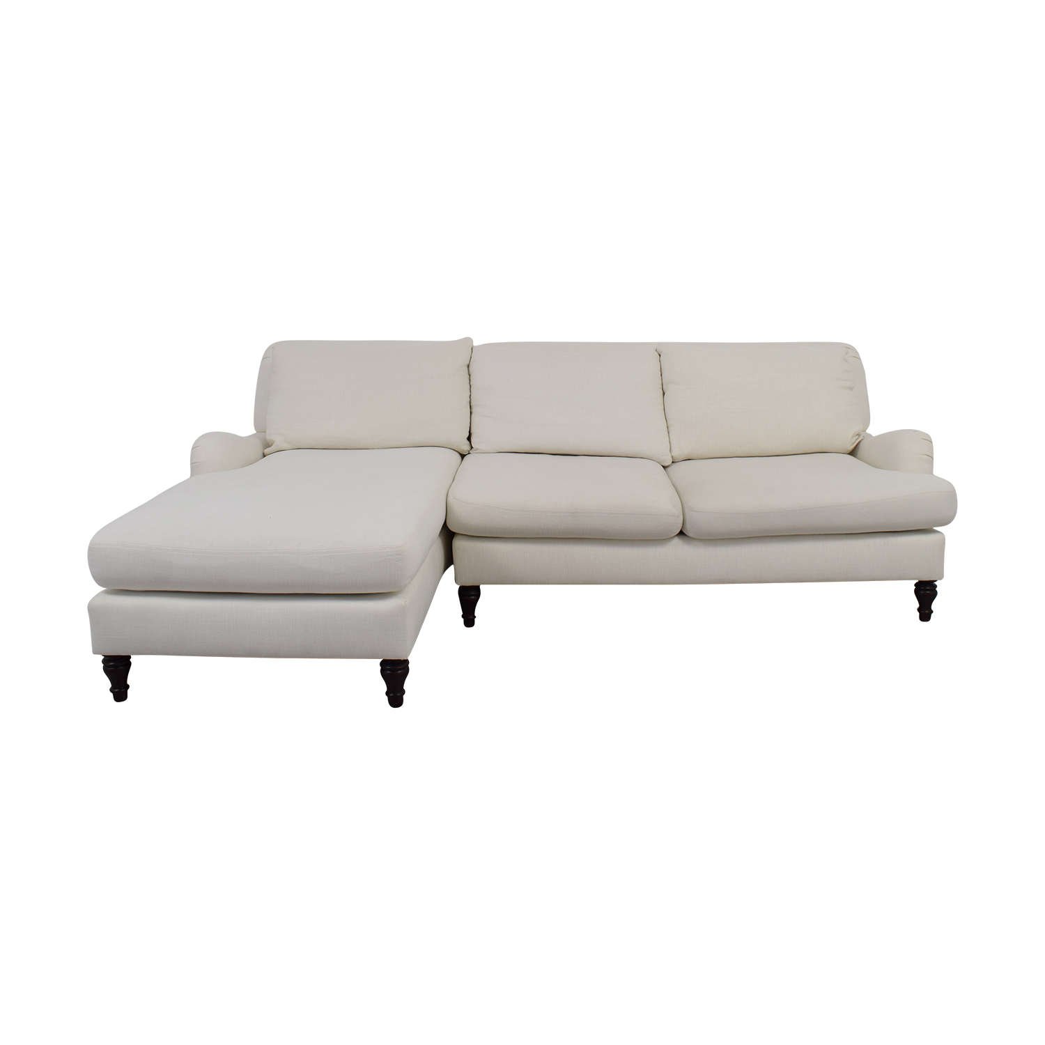 pottery barn chaise sofa sectional john peters sofas hull 79 off carlisle white