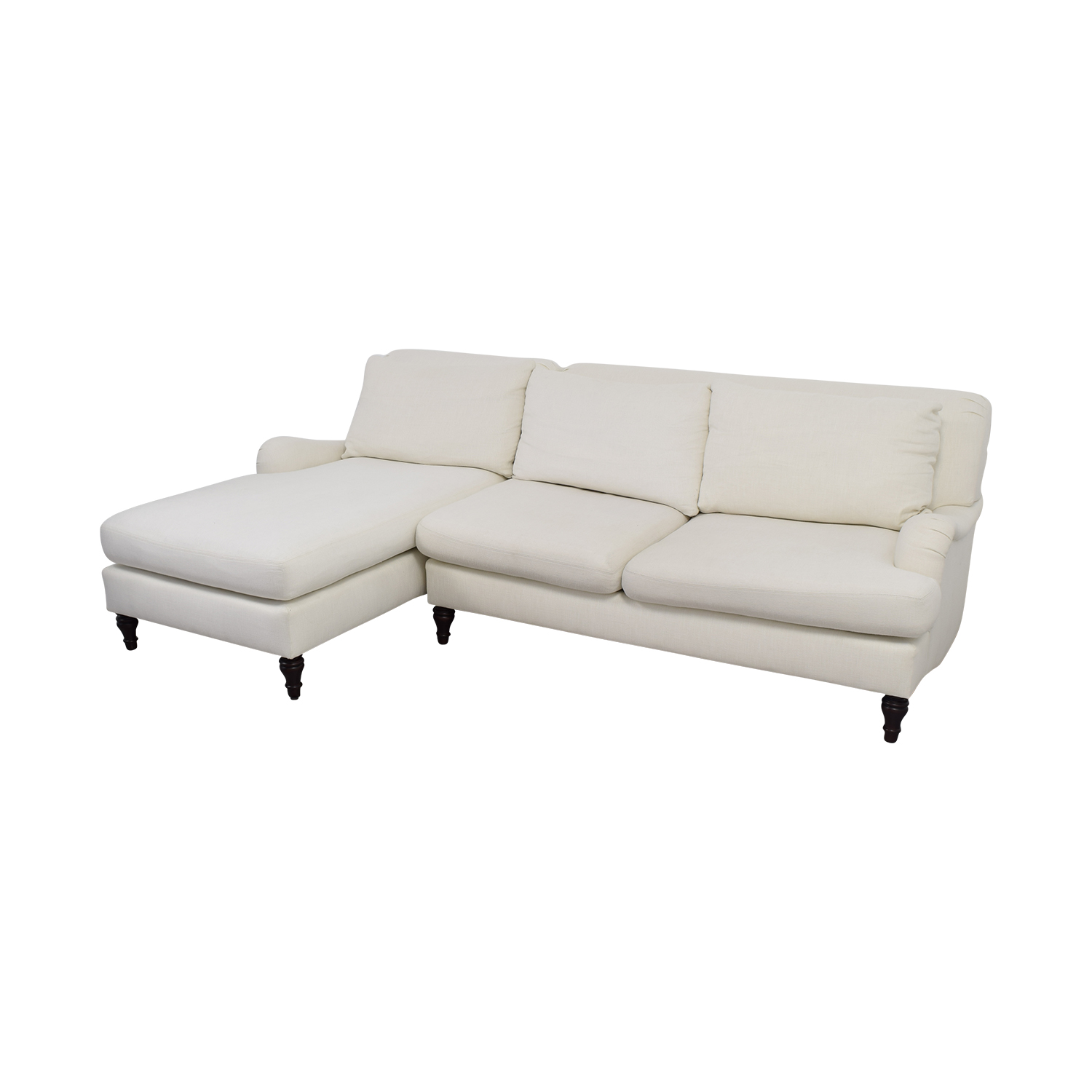 pottery barn chaise sofa sectional leather armrest covers 79 off carlisle white