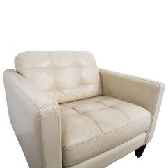 Cream Leather Accent Chairs Vintage Folding 77 Off Macy 39s Tufted Armchair