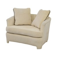 90% OFF - Off White Accent Chair with Pillows / Chairs