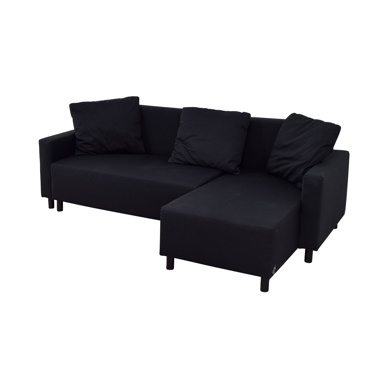 ikea sleeper sofa with chaise burnt orange black bed friheten sectional 3 seat w