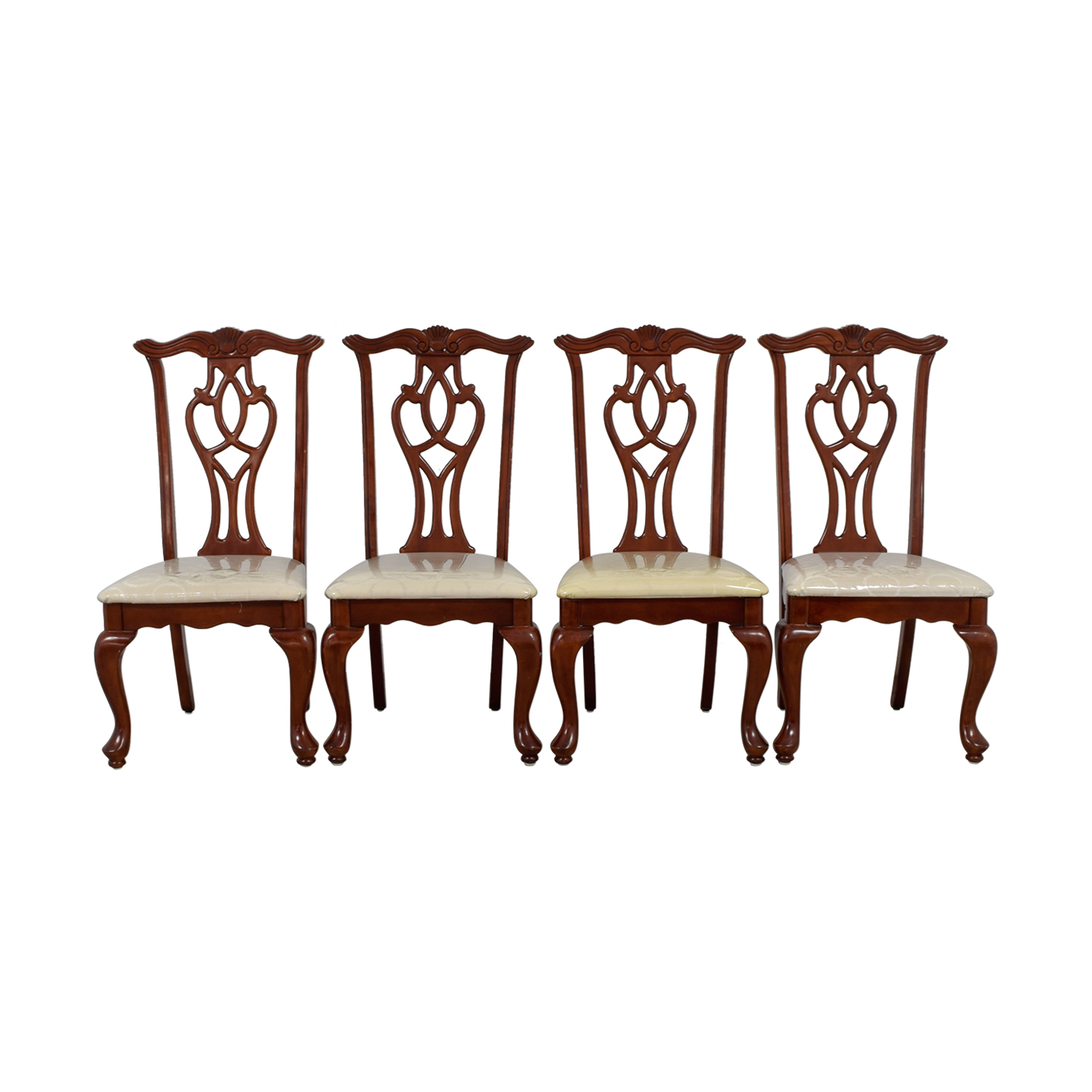 87 OFF  Off White Upholstered Cherry Wood Dining Chairs