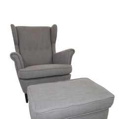 Ikea Chair With Ottoman Racing Seat Gaming 62 Off Grey Wing And Chairs