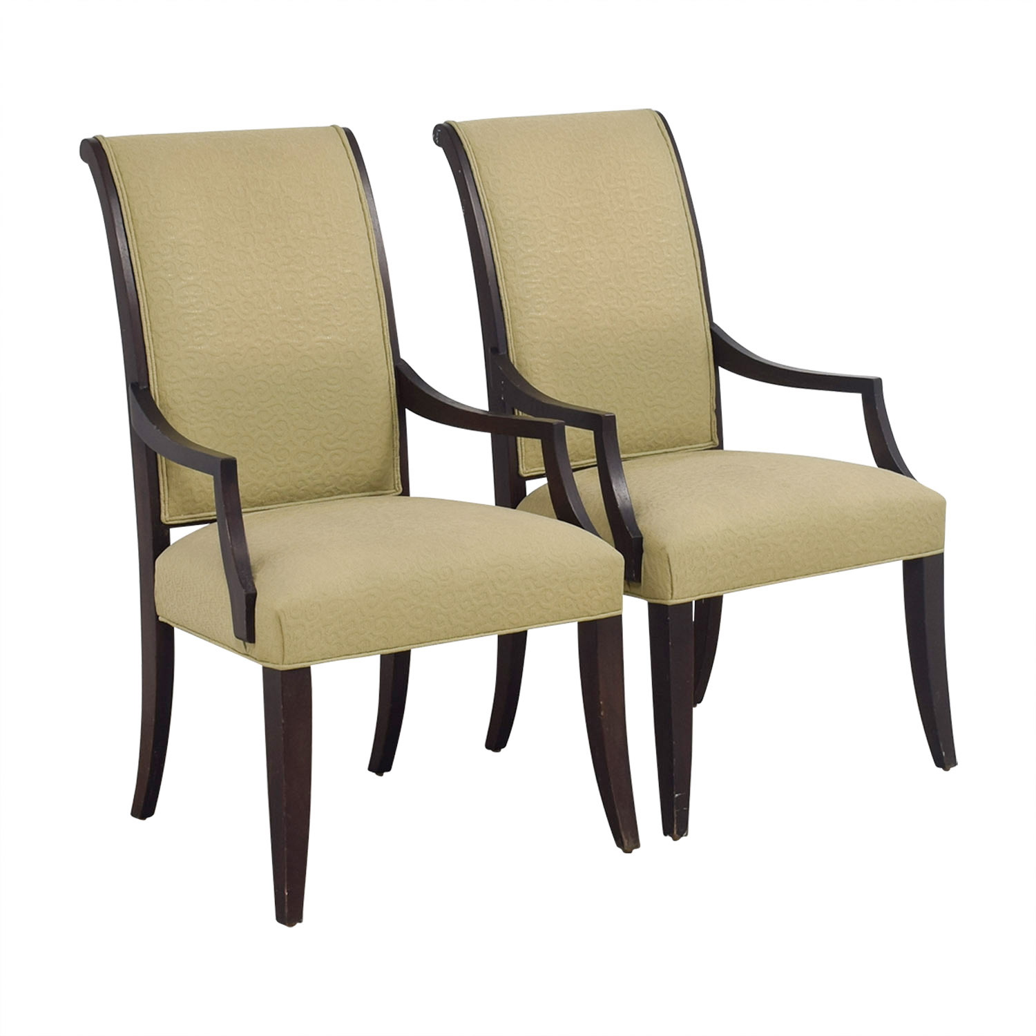 ethan allen recliners chairs oak and leather dining room 76 off beige jacquard