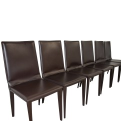Chocolate Leather Dining Chairs Room 70 Off Frag Brown